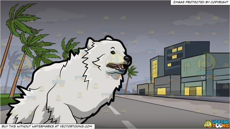 A Running Great Pyrenees Dog And Tropical Storm Background Great
