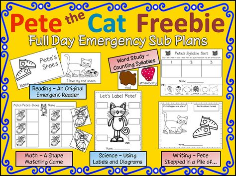 Pete the  Cat sub plans, free and printable