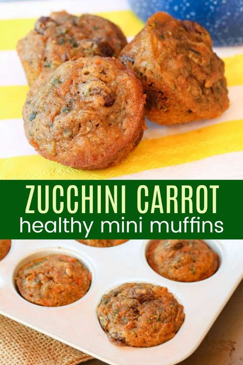 Carrot Zucchini Mini Muffin - sweet, moist, and healthy muffins for kids to enjoy for breakfast or snack while eating their veggies! This muffin recipe has been one of the most popular for years! Healthy Carrot Muffins, Healthy Muffins For Kids, Carrots Healthy, Healthy Muffin Recipes, Healthy Baking, Healthy Drinks, Baby Muffin Recipe Zucchini, Carrot Zucchini Recipe, Healthy Snacks For Kids On The Go
