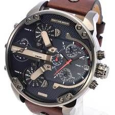 09a6622b5c8 NEW DIESEL DZ7314 Mr Daddy Mens Watch Brown Leather Navy Blue Dial Chr..