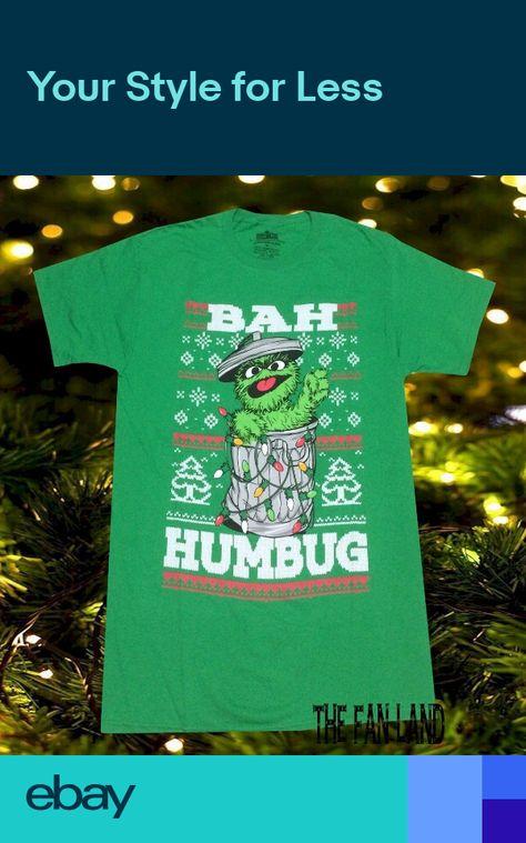 2a6ff516b5 New Sesame Street Oscar Christmas Mens Scrooge Bah Humbug Vintage T-Shirt
