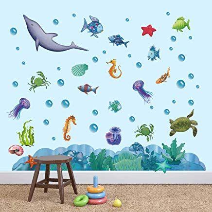 Decalmile Wandtattoo Unter Dem Meer Wandsticker Regenbogen Fisch Ozean Wandaufkleber Kinderzimmer Wo Wandaufkleber Kinderzimmer Wandtattoos Aufkleber Fur Wande