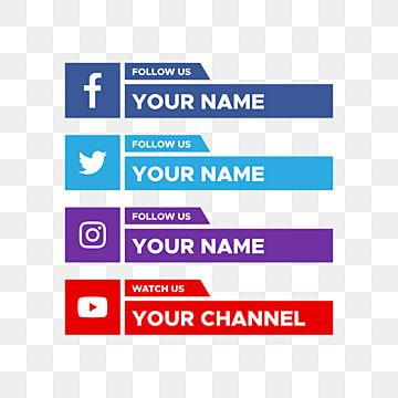 Social Media Lower Third With Facebook Twitter Youtube Logo Collection Social Media Clipart Modern Illustration Png And Vector With Transparent Background Fo Youtube Logo Logo Collection Social Media Icons Vector