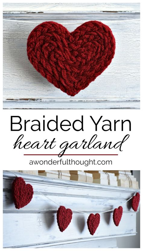 This braided yarn heart garland is a quick and easy project perfect for Valentine's Day or anytime. It would also be adorable in a nursery or kid's room. Valentines Day Decorations, Valentine Day Crafts, Be My Valentine, Holiday Crafts, Heart Decorations, Valentine Wreath, Valentine Ideas, Spring Crafts, Holiday Decorations