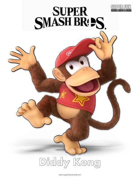 Super Smash Brothers Coloring Pages Smash Brothers Diddy Kong
