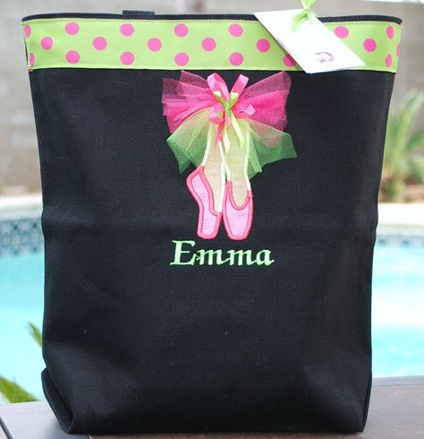 Girls personalized dance bag ballet bag by GigglesandLollipops