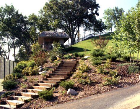 Railroad Ties Landscaping With Rocks Hillside Garden Steep Hillside Landscaping