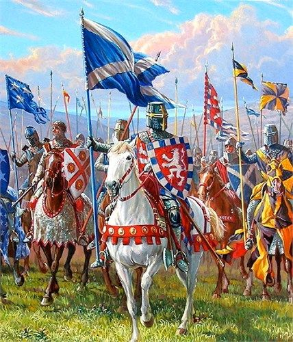 Scottish knights led by Robert the Bruce. Robert the Bruce secured Scottish independence from England militarily — if not diplomatically — at the Battle of Bannockburn in 1314. An English army led by Edward II in person trying to relieve the siege of Stirling Castle was decisively defeated in an atypical set-piece battle.