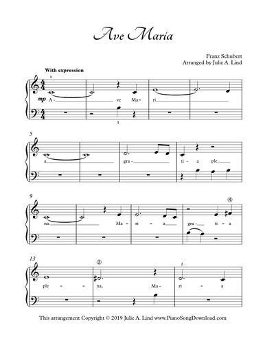 Ave Maria Simplified Piano Solo With Latin Lyrics Sheet Music