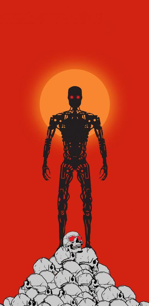 Terminator: Dark Fate, Terminator robot, minimalist, artwork, 1440x2960 wallpaper