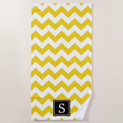 Black Buttercup Yellow And White Vertical Stripes Beach Towel
