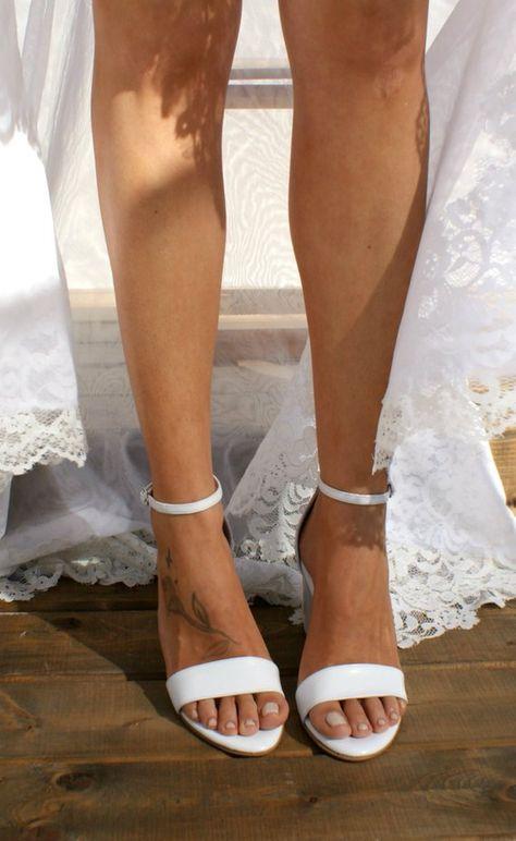 727b2d291 Block heel white leather wedding sandals  Handmade white