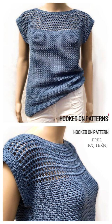 Débardeurs Au Crochet, Crochet Bolero Pattern, Pull Crochet, Crochet Shirt, Crochet Woman, Free Crochet Sweater Patterns, Knitting Patterns, Poncho Style, Crochet Summer Tops