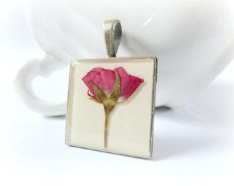 Red Rose - Valentine resin necklace real preserved rose flower bud white Botanical specimen pressed plant Gift Nature lover gardener
