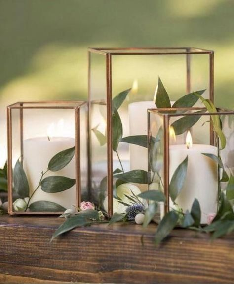 Copper Metal & Glass Taj Cube Votive Holder 3 75 Tall x 3 25 Wide is part of Wedding decorations - Find Copper candle holders and vases at Afloral com This glass cube box is perfect for a succulent terrarium Shop Now Copper Candle Holders, Glass Votive Holders, Candle Holder Decor, Candle Holders Wedding, Wedding Table Centerpieces, Diy Wedding Decorations, Centerpiece Flowers, Simple Table Decorations, Votive Centerpieces
