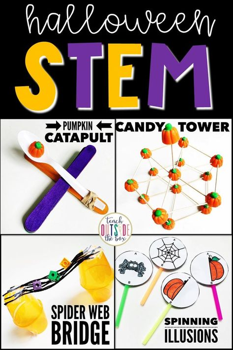 This Halloween STEM package is perfect to engage your little engineers in October! Science Halloween, Halloween Activities, Autumn Activities, Stem Activities, Space Activities, Learning Activities, Halloween Crafts, Halloween Party, Stem Projects