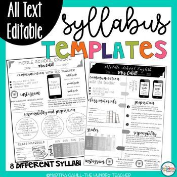 This Editable Resources Included 8 Different Syllabus Templates To Use In Your Uppe Middle School Syllabus Middle School Reading Syllabus Template High Schools