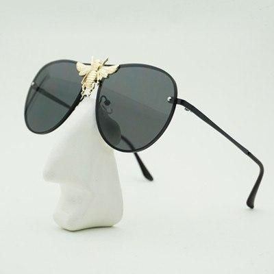Sunglasses Metal Big Bee Gradient Lenses UV400 Retro Men Women Shades