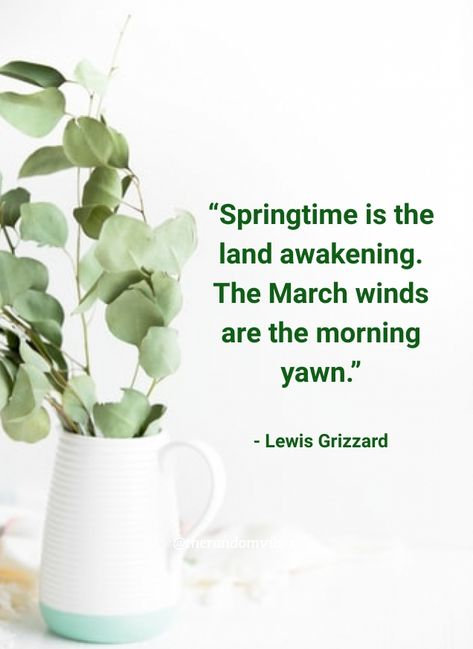 """""""Springtime is the land awakening. The March winds are the morning yawn.""""- Lewis Grizzard #Inspirationalspringquotes #Springseasonquotes #Welcomespringquotes #Happymarchquotes #Marchquotes #2021Marchquotes #March2021quotes #Marchmonthquotes #Monthofspring #Hellomarchgreetings #Marchwishesandquotes #Happymonthquotes #Springmonthquotes #Marchimages #Funnymarchquotes #Hellospringquotes #Marchpicturequotes #Welcomemarchquotes #Welcomespring #Beautifulmarchquotes #Marchcaptions #Instaquotes"""