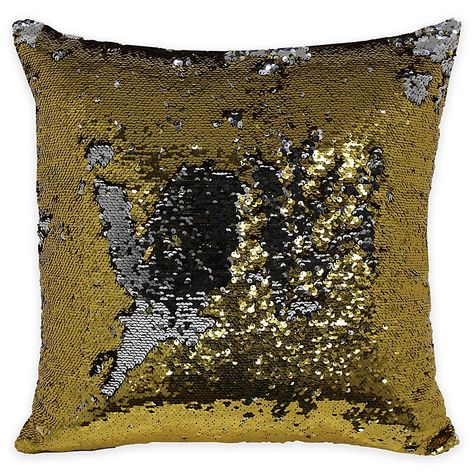 Mermaid Sequin Throw Pillow In Gold