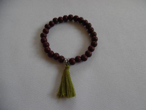 Bracelet Tibetain Homme Mala Aux 27 Perles Perles En Bois De Cypres Stretch Pompon Marron Bijou Hommes Unique Bracelet Bouddhiste Bijoux Homme Et Bijoux De Mariee Indienne