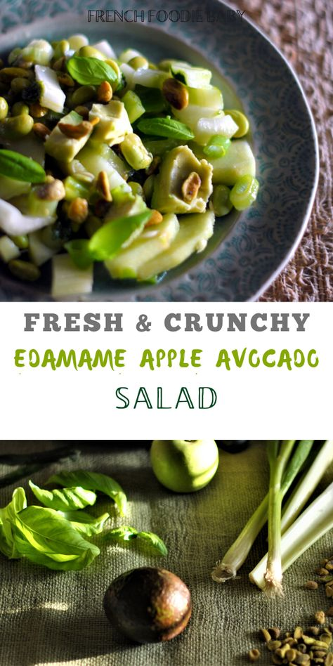 This green crunchy salad is packed full of veggies, it's well balanced, healthy and delicious, with a lime dressing and pistachios on top! #edamamesalad #edamamerecipes #vegansalad #differentsaladrecipes #goodsalads #eatgreen