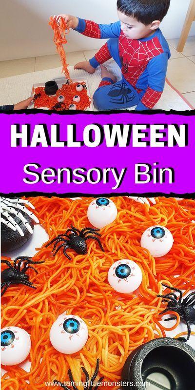 Halloween Rainbow 2020 For Pre-Schooler Amazing Halloween Spaghetti Sensory Bin in 2020 | Sensory bins