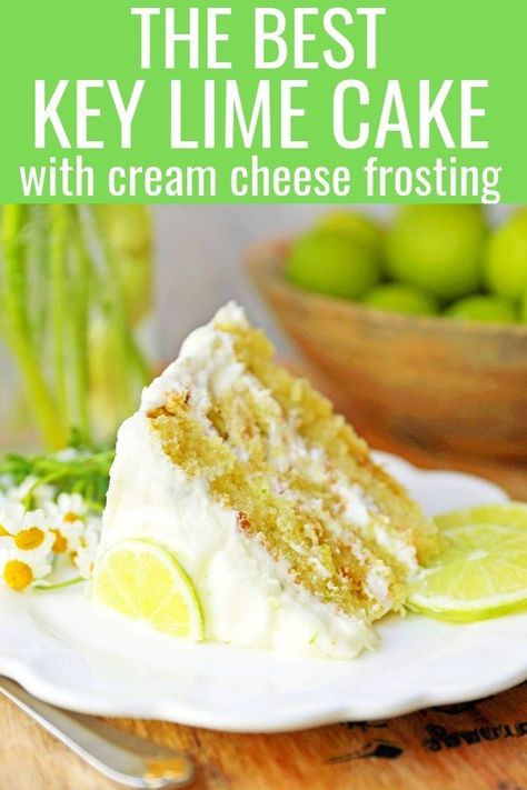 Key Lime Cake with Cream Cheese Frosting. Moist key lime cake with sweet cream cheese frosting. A light and fluffy citrus lime cake with the perfect lime buttercream frosting! The BEST Lime Cake Recipe! www.modernhoney.com #limecake #keylimecake #citruscake