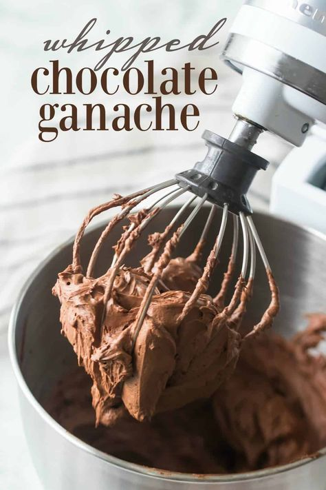 Whipped Chocolate Ganache: just 2 ingredients and the most incredible chocolate flavor! Use it as a filling or frosting on cakes, cupcakes, or cookies. #whippedchocolateganache #chocolate #ganache #chocolateganache #filling #frosting #recipe #desserts #cake #glutenfree #cupcake #howtomake #sweets #baking #food #treats #simple #valentinesday #holidays #bakingamoment