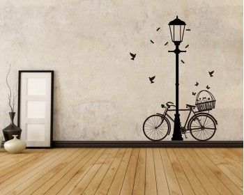 Street Lamp Bicycle Vinyl Decals Modern Wall Art Sticker Bicycle Wall Art Wall Painting Decor Wall Paint Designs