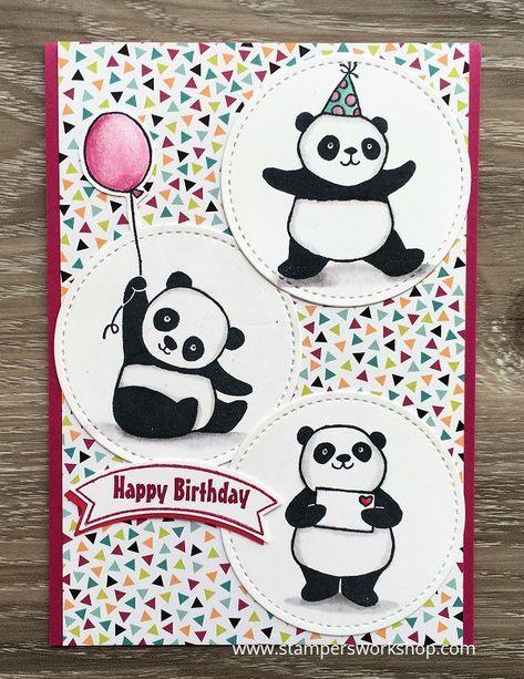 Happy Birthday Party Pandas Stampers Workshop Panda Card Panda Birthday Cards Kids Birthday Cards