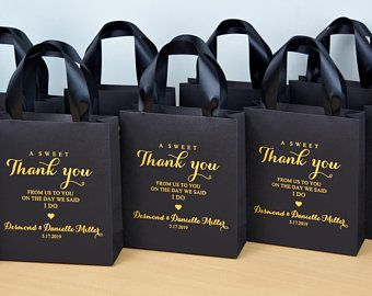 35 Silver wedding welcome bags with satin ribbon handles and your names A sweet thank you personalized Wedding gifts and favors for guests