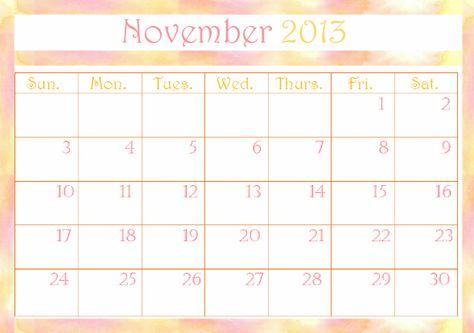 November 2013 Calendar Template Calendar Templates Templates