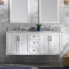 Allen Roth Floating 60 In White Double Sink Bathroom Vanity With Natural Carrara Marble Top Lowes Com Double Sink Bathroom Vanity Double Sink Bathroom Bathroom Vanity