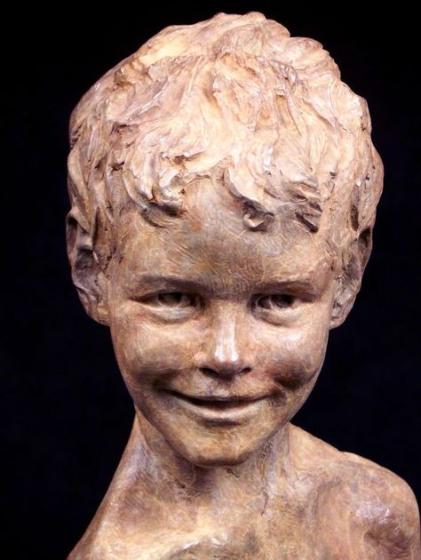 Bronze Portrait Sculptures / Commission or Bespoke or Customised sculpture by sculptor Wesley Wofford titled: 'Neverland Found (Bronze Child Portrait Head statue)' - Artwork View 1