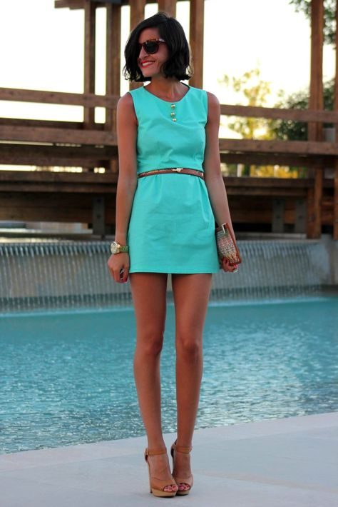 Sassy turquoise dress with classic nude accessories!