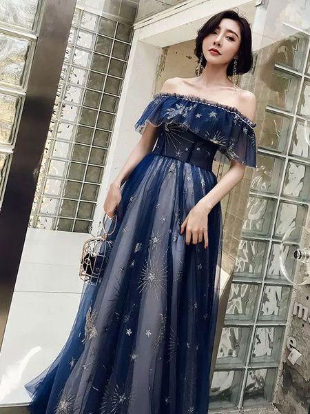 Robe De Bal 2021 Long Hors De L Epaule Etoiles Lune Tulle Dentelle Formel Robe De Fete Constellation Dress Dresses Themed Prom Dresses