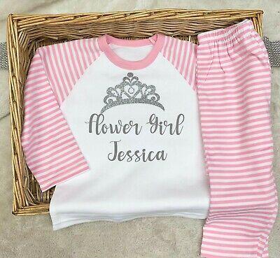Personalised flower girl pyjamas wedding childs bridesmaid
