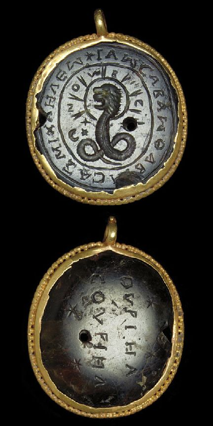 A ROMAN GOLD AND HELIOTROPE MAGICAL PENDANT CIRCA 3RD-4TH CENTURY A.D.