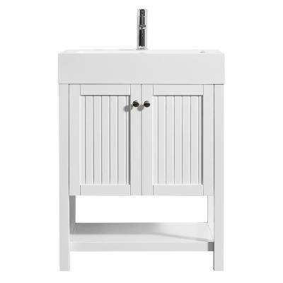 Pavia 28 In W X 20 In D Vanity In White With Acrylic Vanity Top In White With White Basin Double Vanity Bathroom Single Bathroom Vanity Vanity