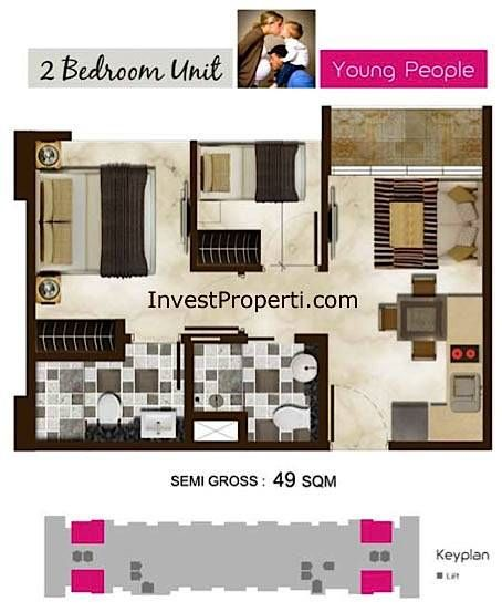 Tipe Unit Kamar 2 Bedrooms Di Tower Amethyst Puri Mansion Apartment Mansions Apartment Floor Plans