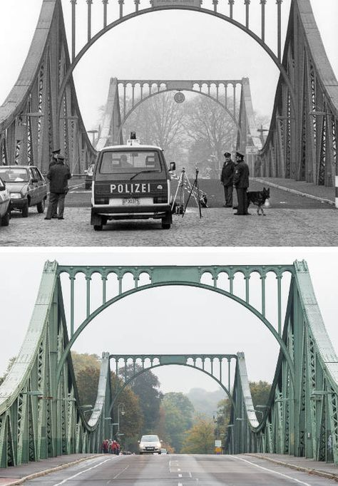 The Berlin Wall: Photos of then and now The Local/West Berlin police in 1988 at the Glienicker Brücke which crossed from West Berlin into the GDR at Potsdam. Photo: dpa-Archiv/Lukas Schulze