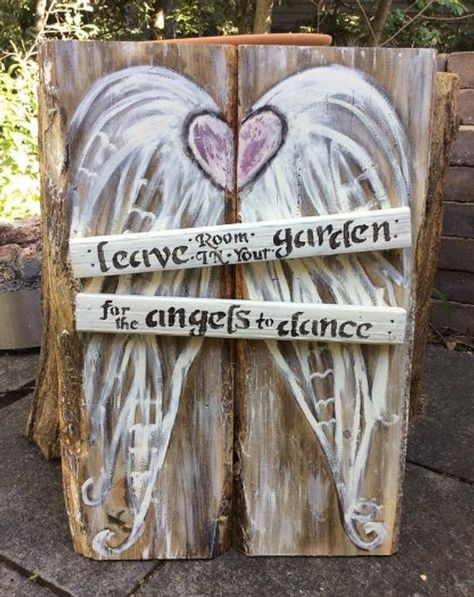 Leave Room In Your Garden For The Angels To Dance Wings - Wood Wall Art ready to hang…. Leave Room In Your Garden For The Angels To Dance 21 x 16 - Wood Angel Wings, Angel Wings Painting, D N Angel, Angel Art, Garden Wall Art, Garden Painting, Garden Angels, Angel Crafts, Angel Pictures