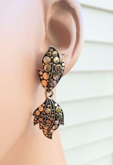 ea77a190f John Hardy Dot Collection 18K Gold & Sterling Silver Drop Post Back Earrings  #JohnHardy #Hoop