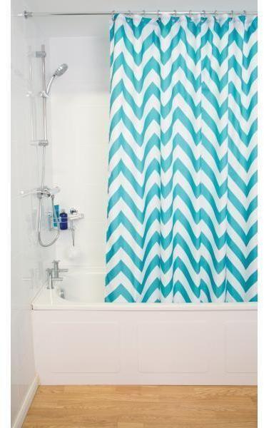 The Croydex Aqua Chevron Textile Shower Curtain Has A Sharp Crisp Clean Appearance That Chevron Shower Curtain Trendy Bathroom Tiles Bathroom Shower Curtains