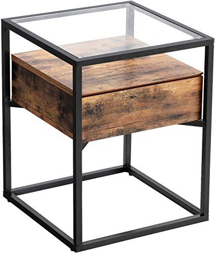 New Vasagle Industrial Side Table Tempered Glass End Table Drawer Rustic Shelf Decoration Living Room Lounge Foyer Stable Iron Frame Ulet04bx Online In 2020 Industrial Side Table End Tables