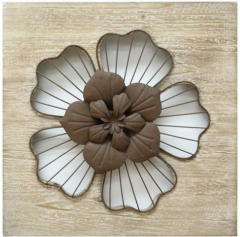 Your Home And Beyond Rustic Wood with Metal Scroll Alexis Wall Decor-Distressed Finish Decorative Abstract Modern Wall Art 24x24