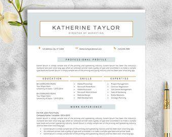 Cv Template Etsy Resume Cv Template Modern Resume