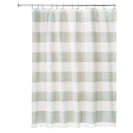 Idesign Wide Stripe Fabric Shower Curtain Sage Size 72 Inch X 72