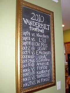 Another great use for a DIY framed chalkboard: football schedule.